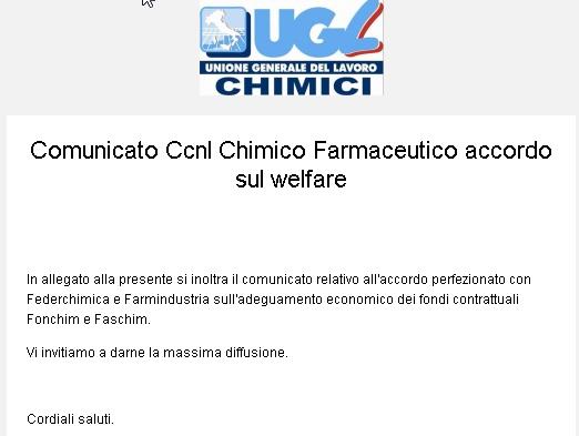 Ccnl CHIMICO-FARMACEUTICO: accordo sul Welfare