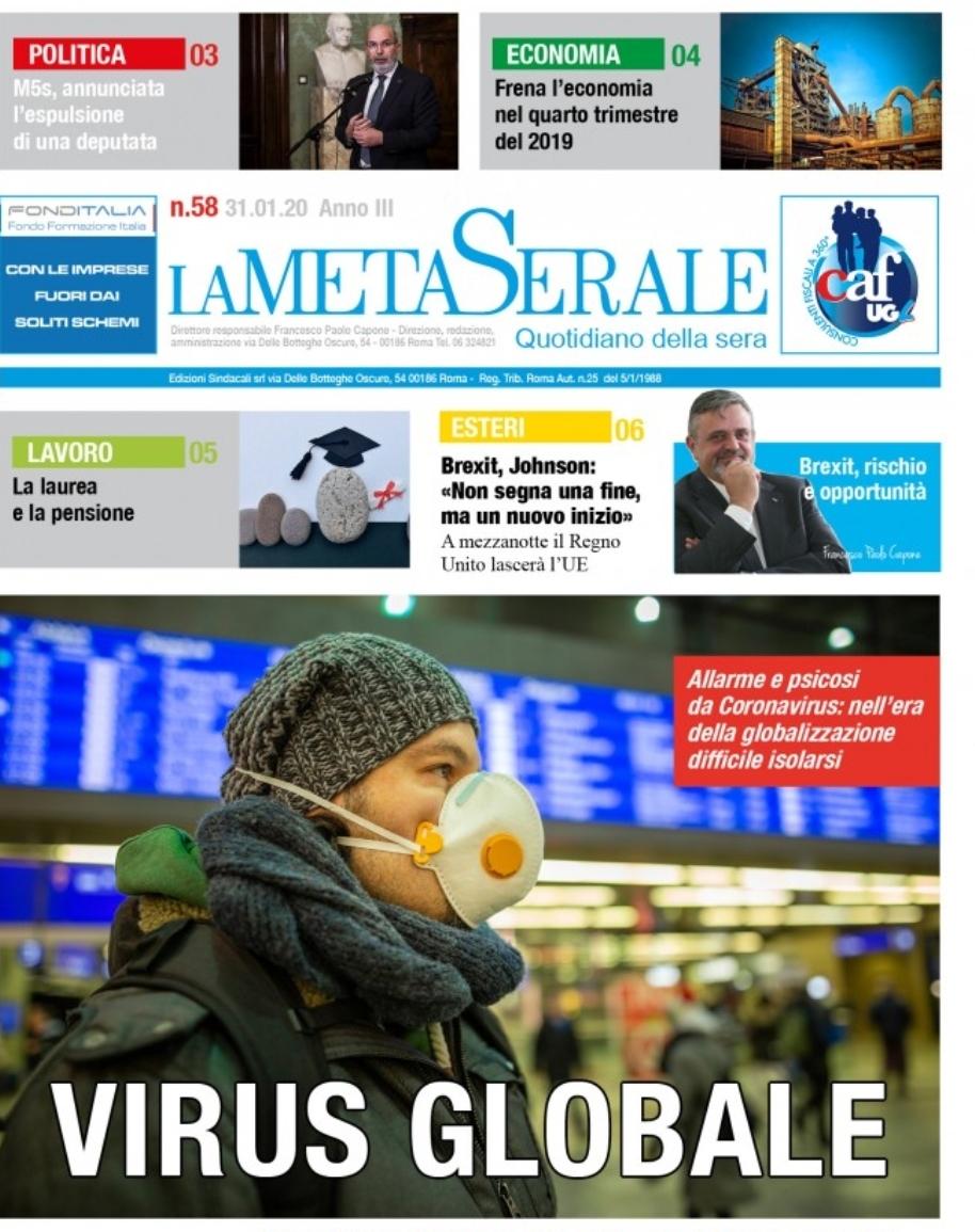 La Meta Serale 58 Anno III – Quotidiano dell'Ugl