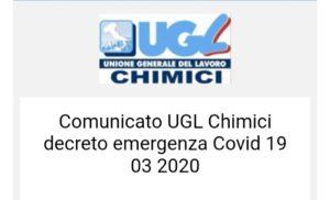 Comunicato UGL Chimici decreto emergenza Covid 19 03 2020