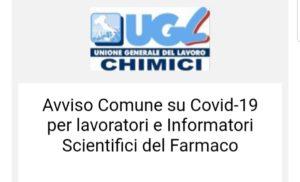 Avviso Comune su Covid-19 per lavoratori e Informatori Scientifici del Farmaco