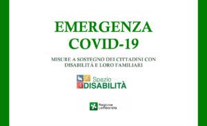 Emergenza COVID-19: misure a sostegno dei cittadini con disabilità e loro familiari