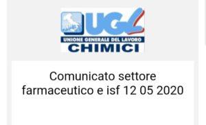 Comunicato settore farmaceutico e isf 12 05 2020
