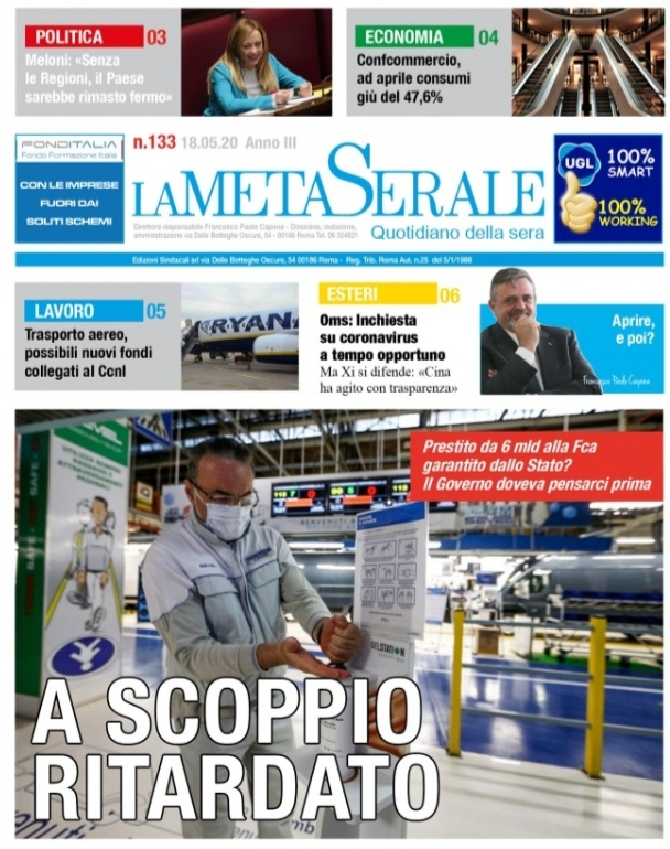 La Meta Serale 133 Anno III – Quotidiano dell'Ugl