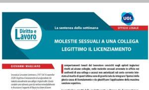 MOLESTIE sessuali ad una collega: legittimo il Licenziamento