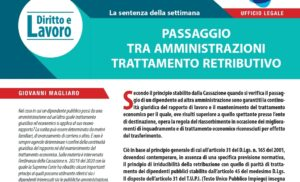 PASSAGGIO TRA AMMINISTRATORI Trattamento Retributivo – Diritto e Lavoro