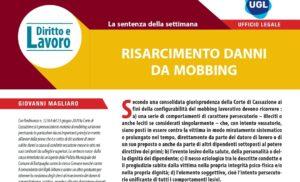 RISARCIMENTO DANNI DA MOBBING – Diritto e Lavoro Ugl