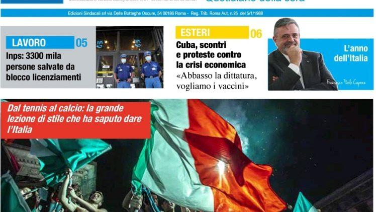 Inps, 3300 persone salvate da blocco licenziamenti – Ripresa, timori legati alla Variante Delta – Capone Ugl, l'anno dell'Italia