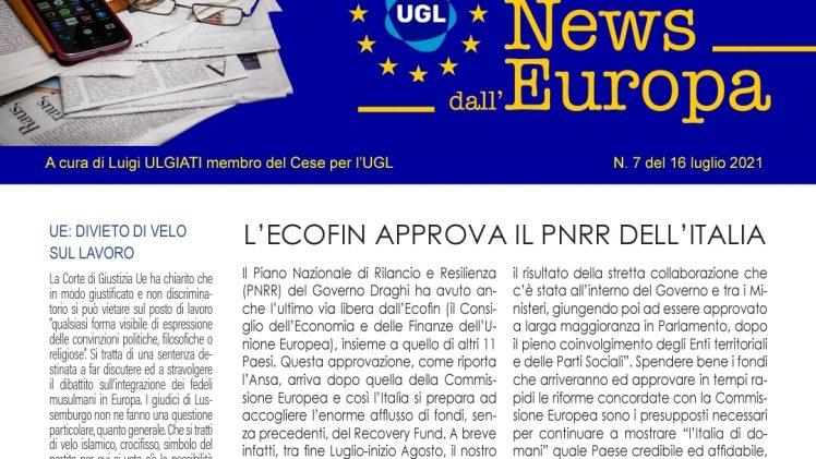 L'Ecofin Approva il Pnrr dell'Italia – Il Divieto del Velo sul Lavoro – Piano Europeo sul Clima